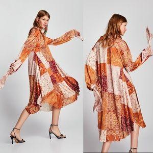 ZARA Oversized Long Sleeve V-Neck Dress